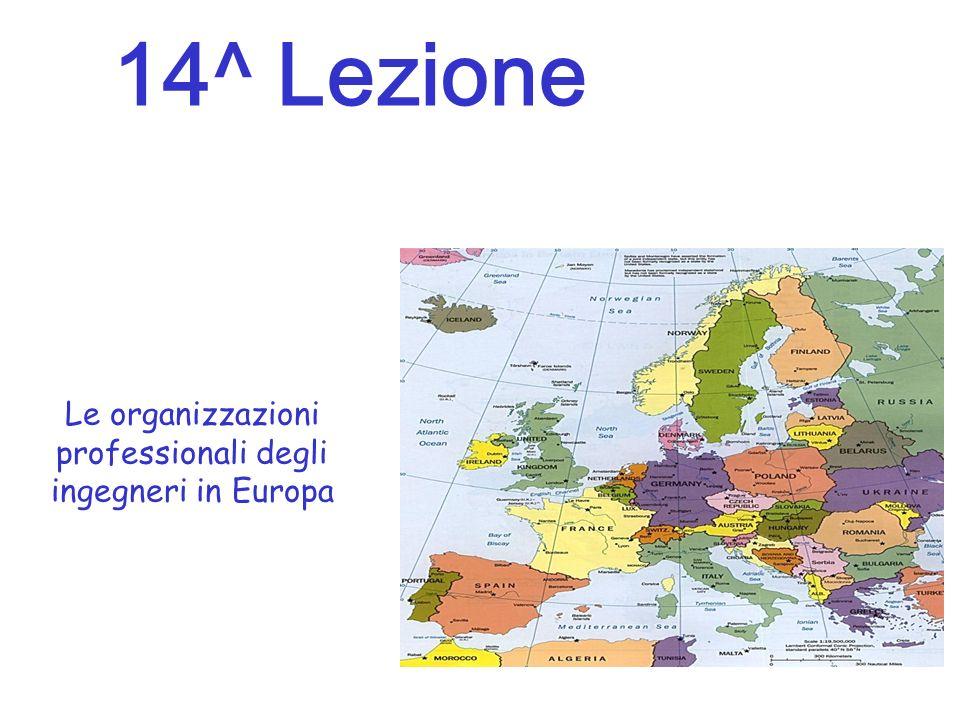 Le organizzazioni professionali degli ingegneri in Europa 14^ Lezione