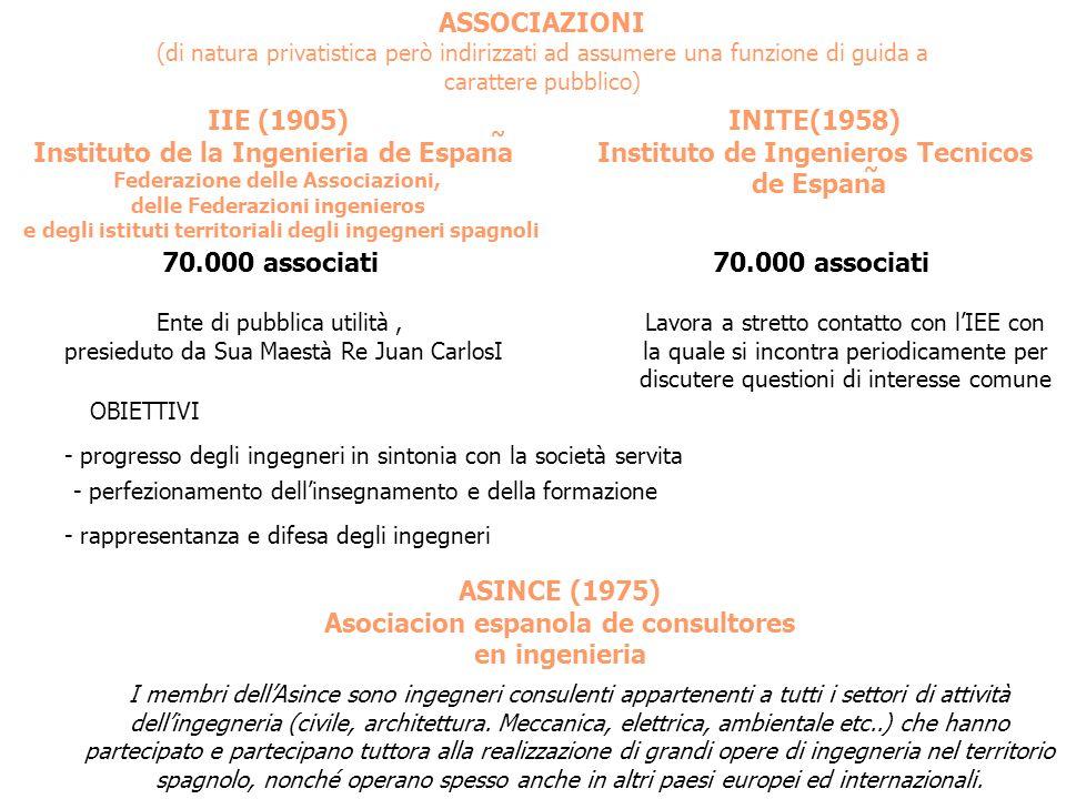 ASSOCIAZIONI (di natura privatistica però indirizzati ad assumere una funzione di guida a carattere pubblico) IIE (1905) Instituto de la Ingenieria de