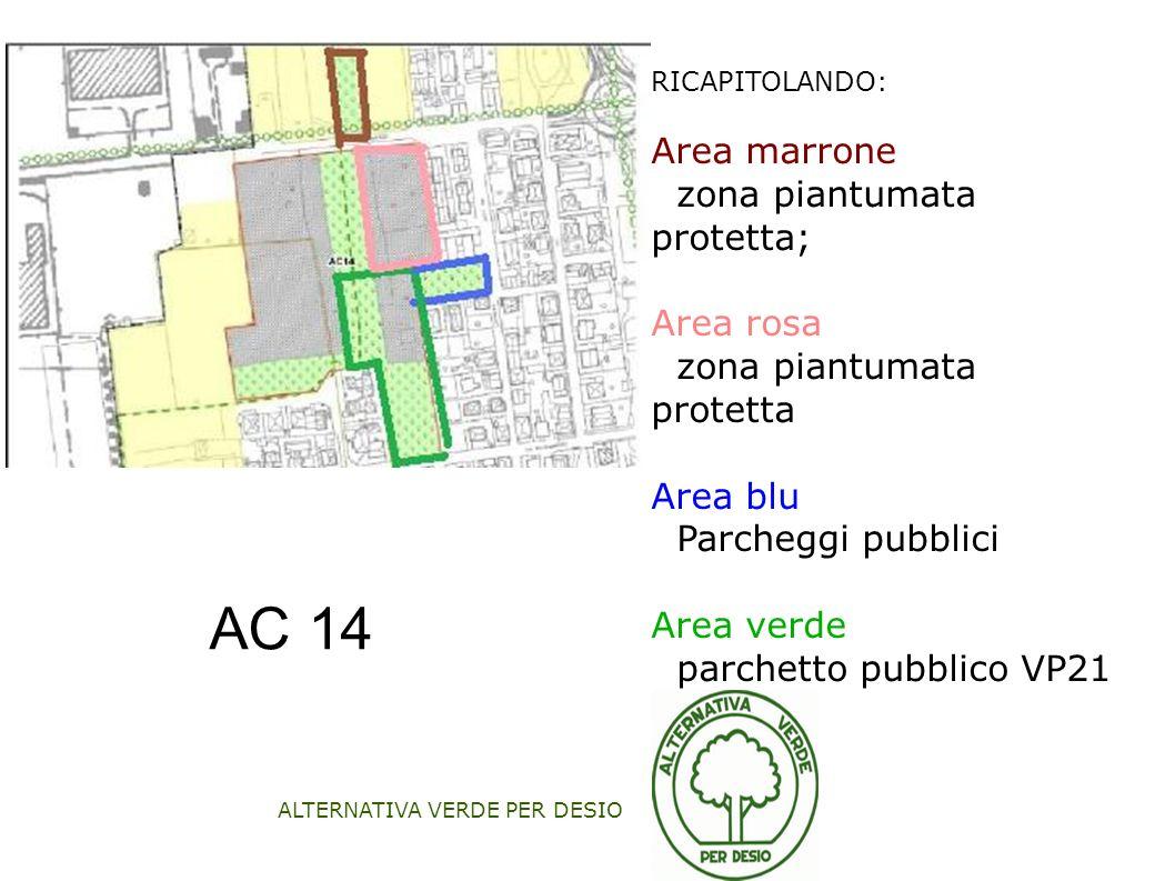 ALTERNATIVA VERDE PER DESIO RICAPITOLANDO: Area marrone zona piantumata protetta; Area rosa zona piantumata protetta Area blu Parcheggi pubblici Area