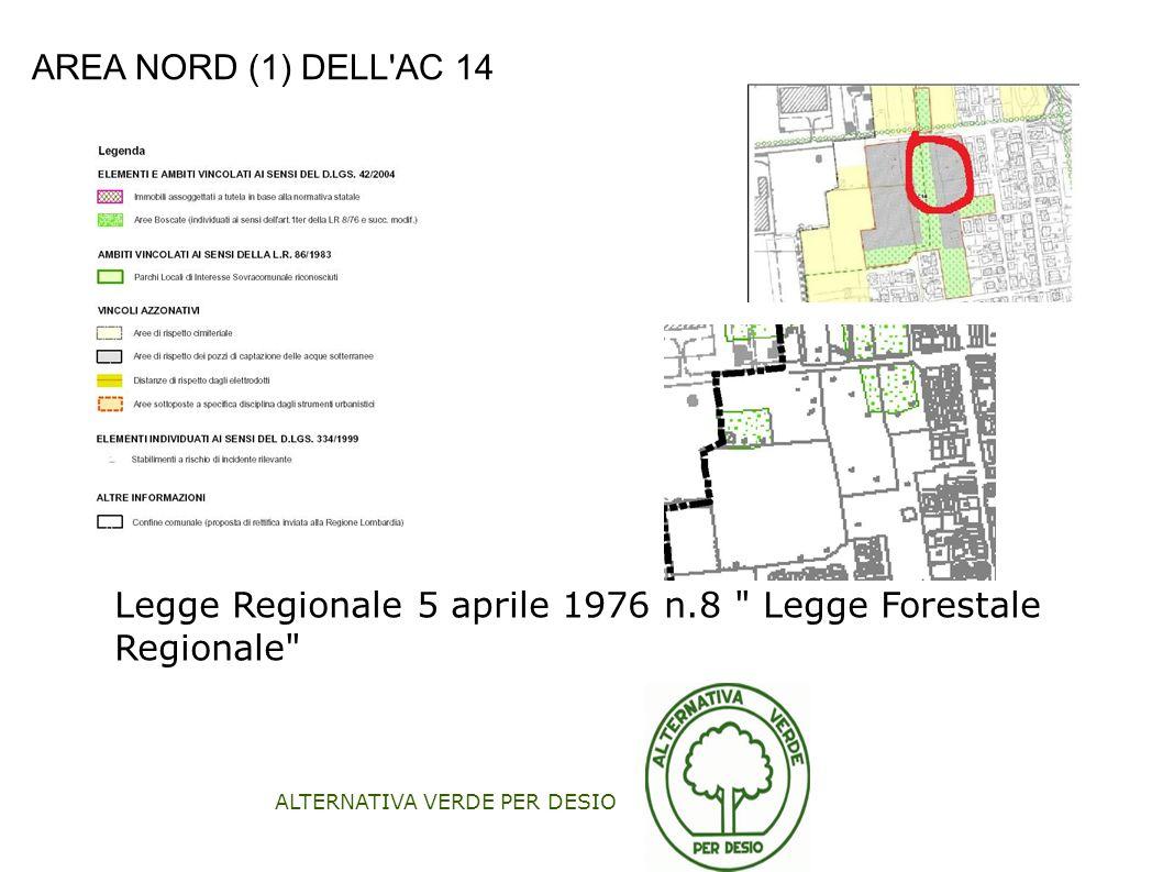 ALTERNATIVA VERDE PER DESIO AREA NORD (1) DELL'AC 14 Legge Regionale 5 aprile 1976 n.8