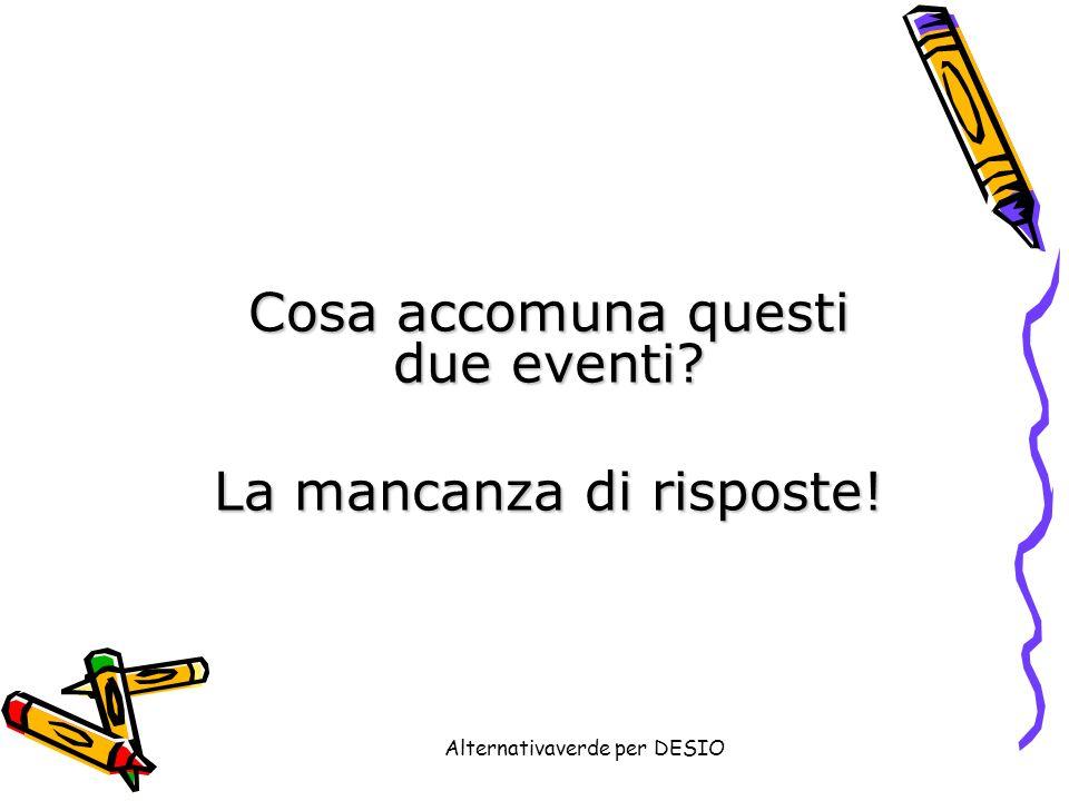 Alternativaverde per DESIO Cosa accomuna questi due eventi La mancanza di risposte!