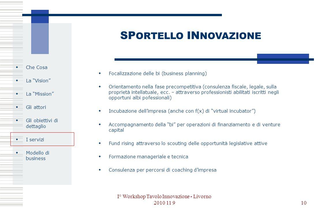 I° Workshop Tavolo Innovazione - Livorno 2010 11 910 Che Cosa La Vision La Mission Gli attori Gli obiettivi di dettaglio I servizi Modello di business SP ORTELLO IN NOVAZIONE Focalizzazione delle bi (business planning) Orientamento nella fase precompetitiva (consulenza fiscale, legale, sulla proprietà intellatuale, ecc.