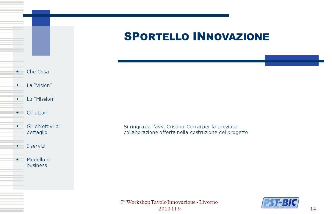 I° Workshop Tavolo Innovazione - Livorno 2010 11 914 Che Cosa La Vision La Mission Gli attori Gli obiettivi di dettaglio I servizi Modello di business SP ORTELLO IN NOVAZIONE Si ringrazia lavv.