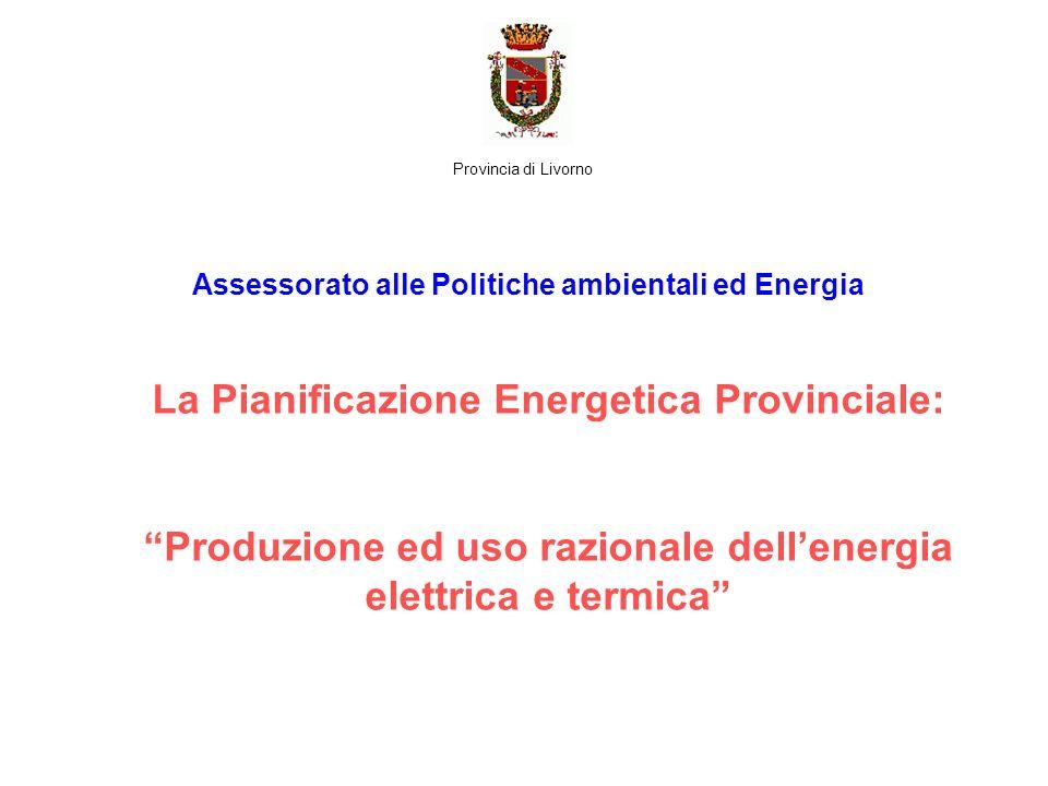 La Pianificazione Energetica Provinciale: Produzione ed uso razionale dellenergia elettrica e termica Assessorato alle Politiche ambientali ed Energia