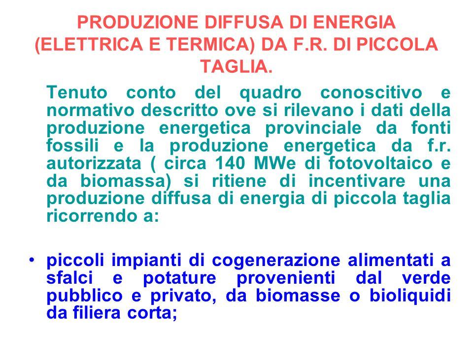 PRODUZIONE DIFFUSA DI ENERGIA (ELETTRICA E TERMICA) DA F.R. DI PICCOLA TAGLIA. Tenuto conto del quadro conoscitivo e normativo descritto ove si rileva