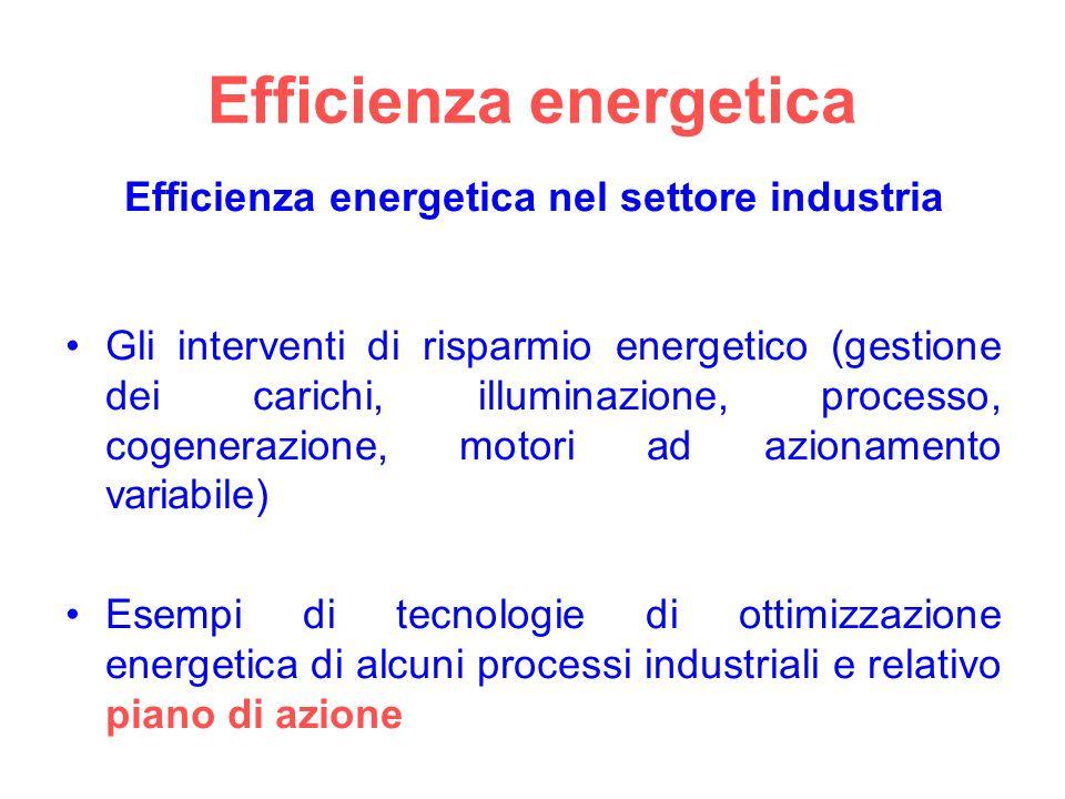 Efficienza energetica Efficienza energetica nel settore industria Gli interventi di risparmio energetico (gestione dei carichi, illuminazione, processo, cogenerazione, motori ad azionamento variabile) Esempi di tecnologie di ottimizzazione energetica di alcuni processi industriali e relativo piano di azione