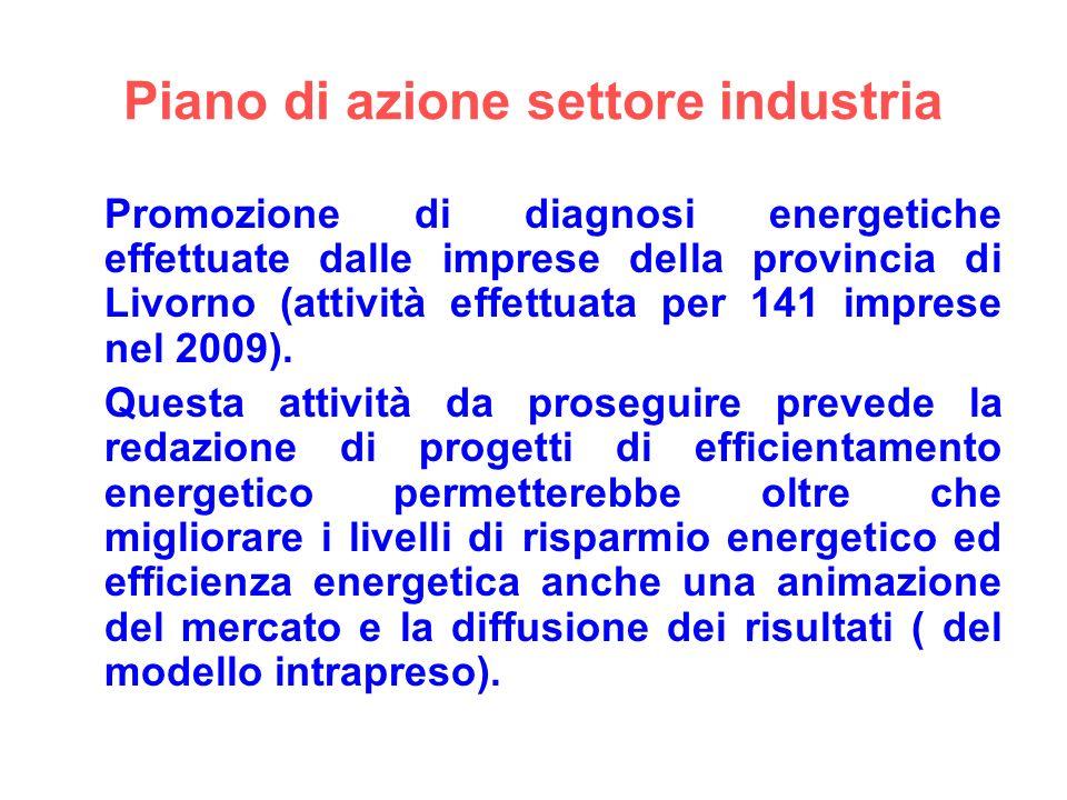 Piano di azione settore industria Promozione di diagnosi energetiche effettuate dalle imprese della provincia di Livorno (attività effettuata per 141 imprese nel 2009).