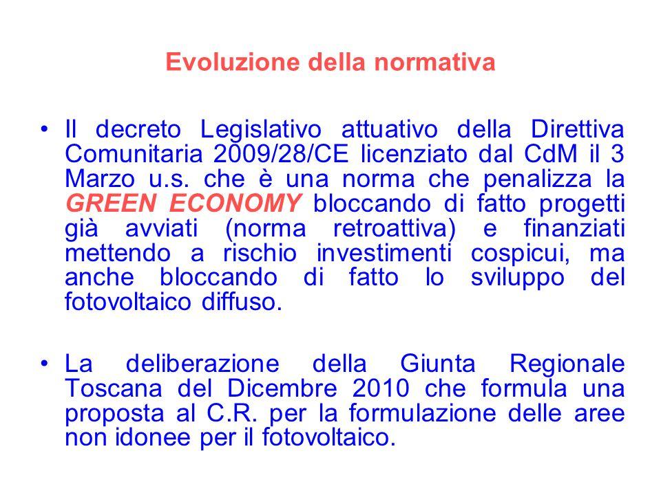 Evoluzione della normativa Il decreto Legislativo attuativo della Direttiva Comunitaria 2009/28/CE licenziato dal CdM il 3 Marzo u.s. che è una norma