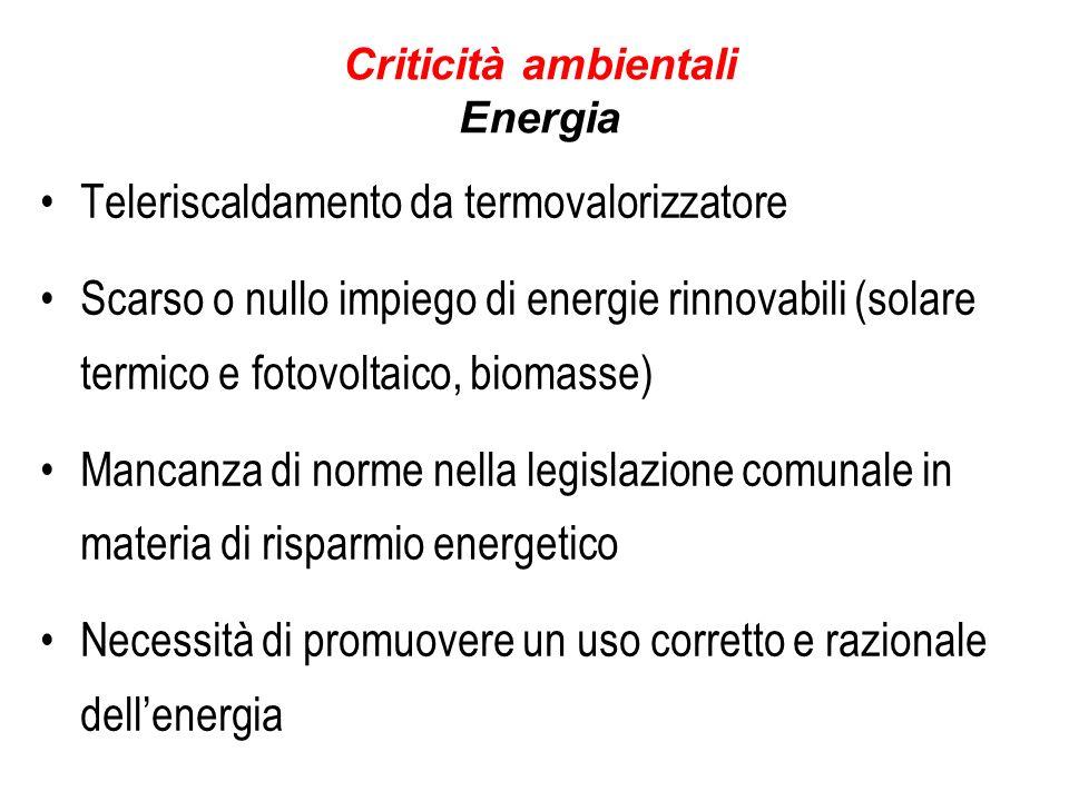 Criticità ambientali Energia Teleriscaldamento da termovalorizzatore Scarso o nullo impiego di energie rinnovabili (solare termico e fotovoltaico, biomasse) Mancanza di norme nella legislazione comunale in materia di risparmio energetico Necessità di promuovere un uso corretto e razionale dellenergia