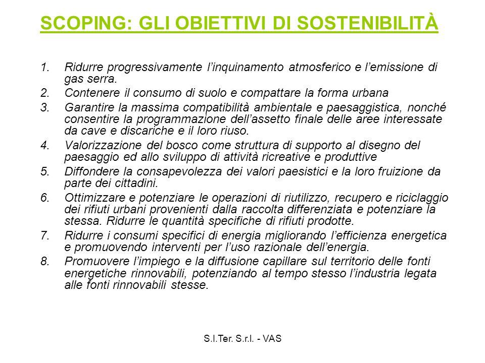S.I.Ter. S.r.l. - VAS SCOPING: GLI OBIETTIVI DI SOSTENIBILITÀ 1.Ridurre progressivamente linquinamento atmosferico e lemissione di gas serra. 2.Conten