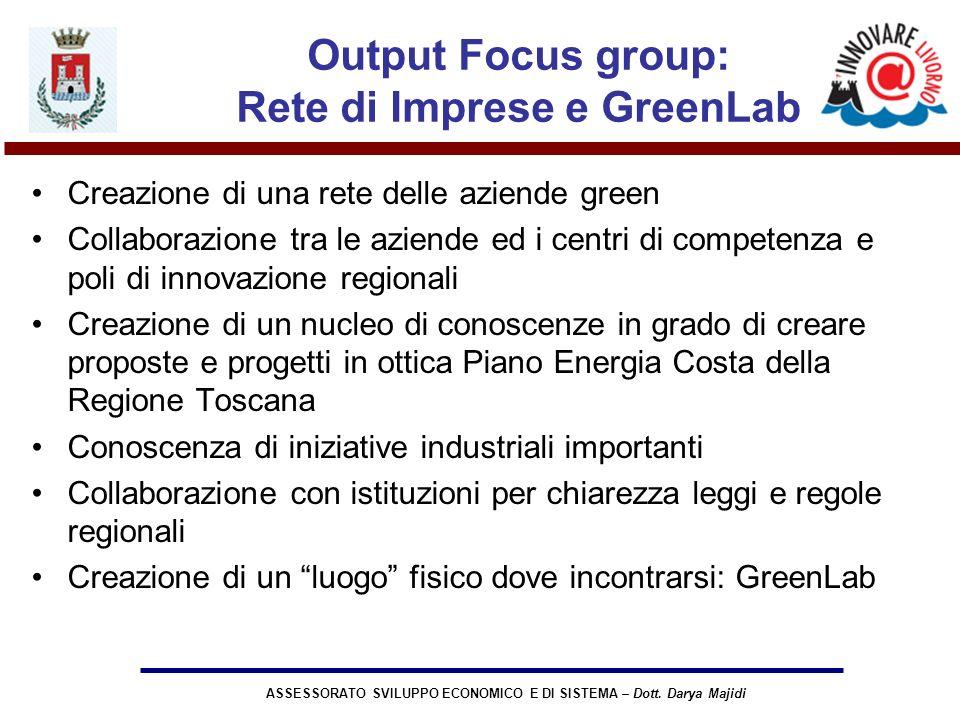 ASSESSORATO SVILUPPO ECONOMICO E DI SISTEMA – Dott. Darya Majidi Output Focus group: Rete di Imprese e GreenLab Creazione di una rete delle aziende gr