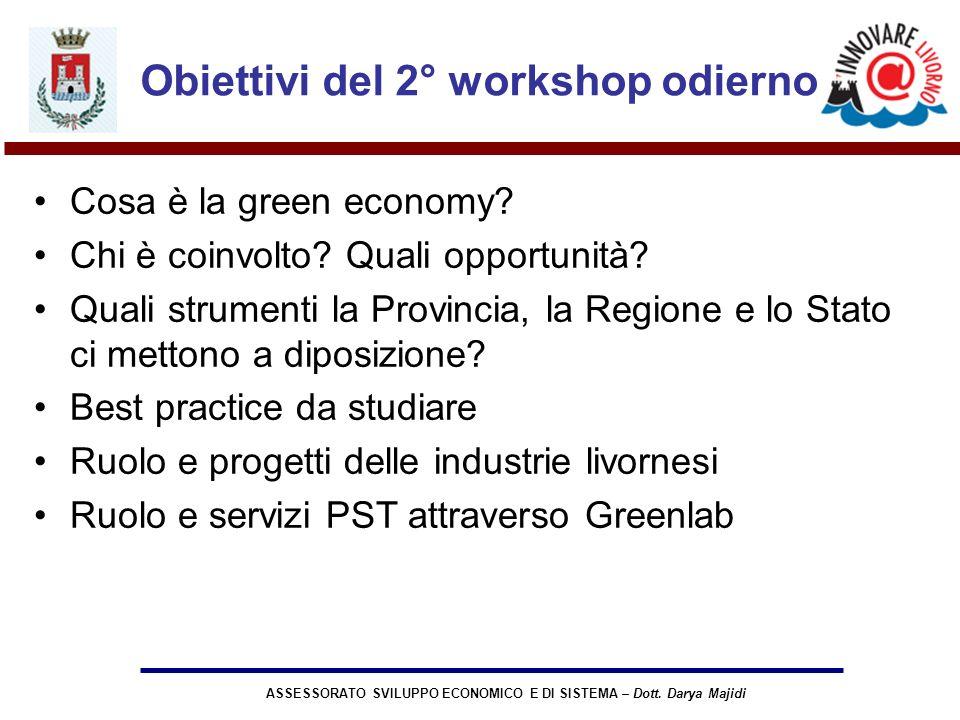 ASSESSORATO SVILUPPO ECONOMICO E DI SISTEMA – Dott. Darya Majidi Obiettivi del 2° workshop odierno Cosa è la green economy? Chi è coinvolto? Quali opp