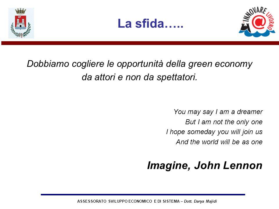 ASSESSORATO SVILUPPO ECONOMICO E DI SISTEMA – Dott. Darya Majidi La sfida….. Dobbiamo cogliere le opportunità della green economy da attori e non da s
