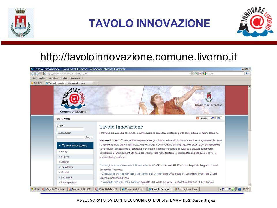 ASSESSORATO SVILUPPO ECONOMICO E DI SISTEMA – Dott. Darya Majidi TAVOLO INNOVAZIONE http://tavoloinnovazione.comune.livorno.it