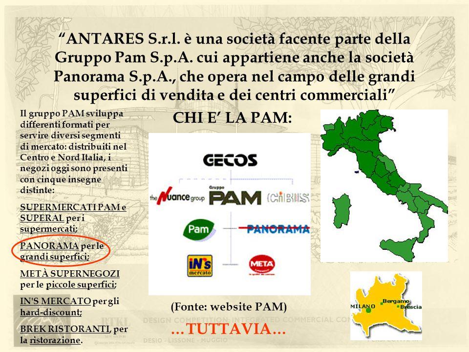 ANTARES S.r.l. è una società facente parte della Gruppo Pam S.p.A. cui appartiene anche la società Panorama S.p.A., che opera nel campo delle grandi s