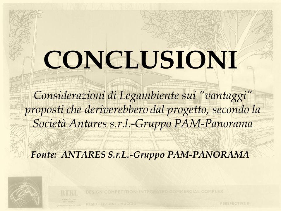 CONCLUSIONI Fonte: ANTARES S.r.L.-Gruppo PAM-PANORAMA Considerazioni di Legambiente sui vantaggi proposti che deriverebbero dal progetto, secondo la S