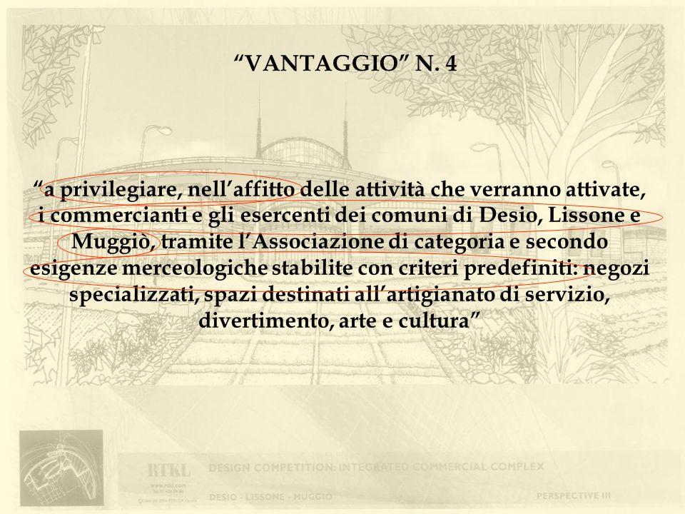 VANTAGGIO N. 4 a privilegiare, nellaffitto delle attività che verranno attivate, i commercianti e gli esercenti dei comuni di Desio, Lissone e Muggiò,