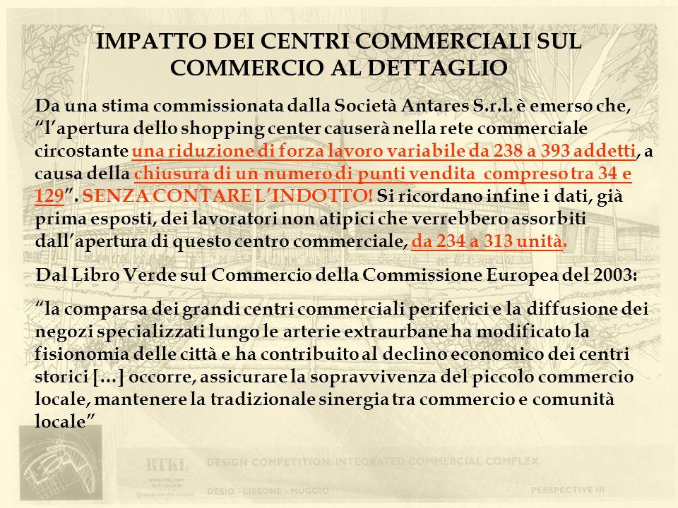 IMPATTO DEI CENTRI COMMERCIALI SUL COMMERCIO AL DETTAGLIO Dal Libro Verde sul Commercio della Commissione Europea del 2003: la comparsa dei grandi cen