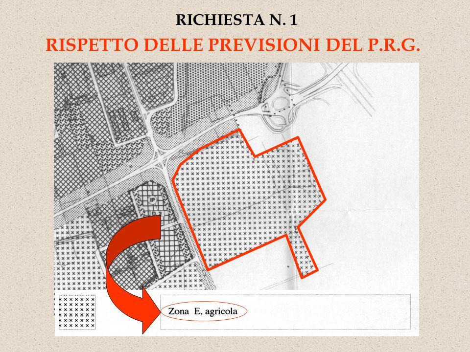 RICHIESTA N. 1 RISPETTO DELLE PREVISIONI DEL P.R.G.