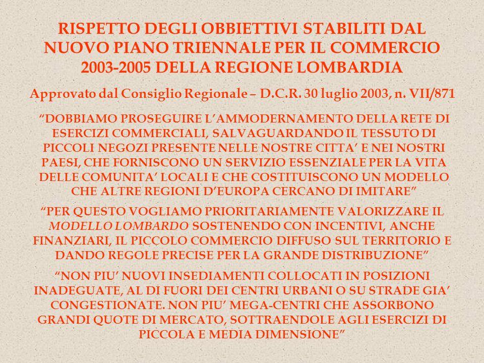 RISPETTO DEGLI OBBIETTIVI STABILITI DAL NUOVO PIANO TRIENNALE PER IL COMMERCIO 2003-2005 DELLA REGIONE LOMBARDIA Approvato dal Consiglio Regionale – D