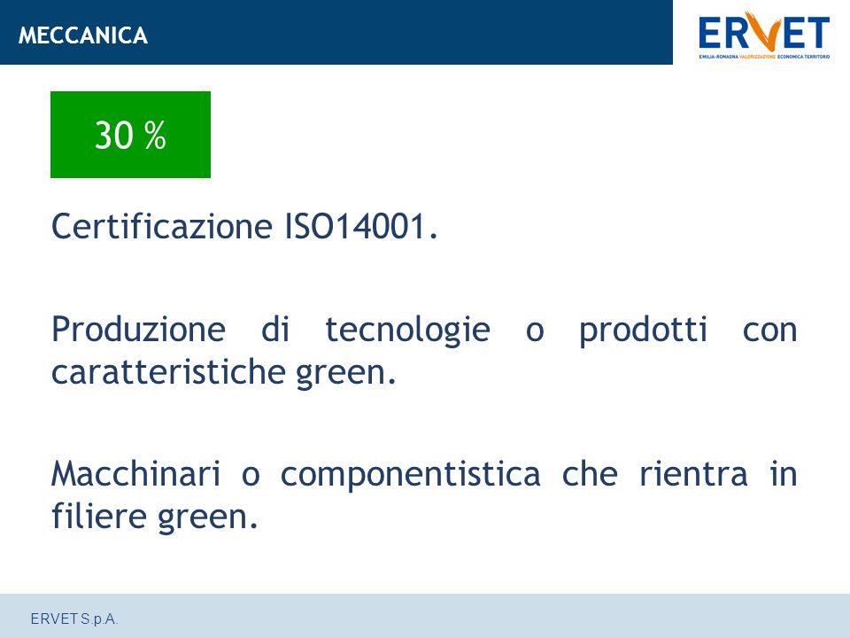 ERVET S.p.A. Certificazione ISO14001. Produzione di tecnologie o prodotti con caratteristiche green. Macchinari o componentistica che rientra in filie