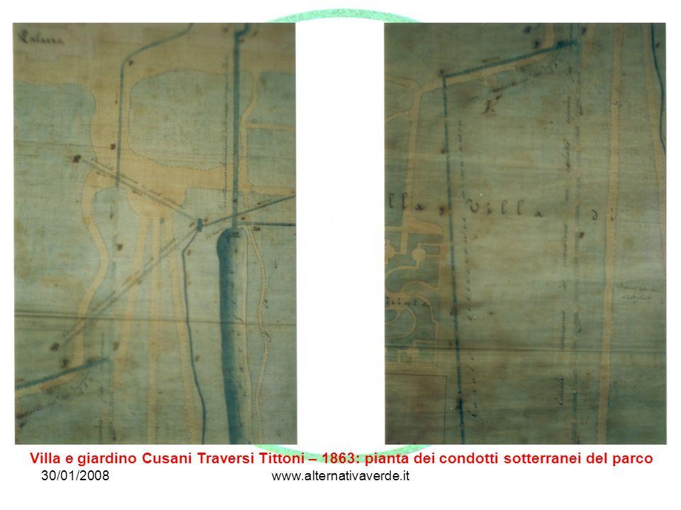 30/01/2008www.alternativaverde.it Villa e giardino Cusani Traversi Tittoni – 1863: pianta dei condotti sotterranei del parco