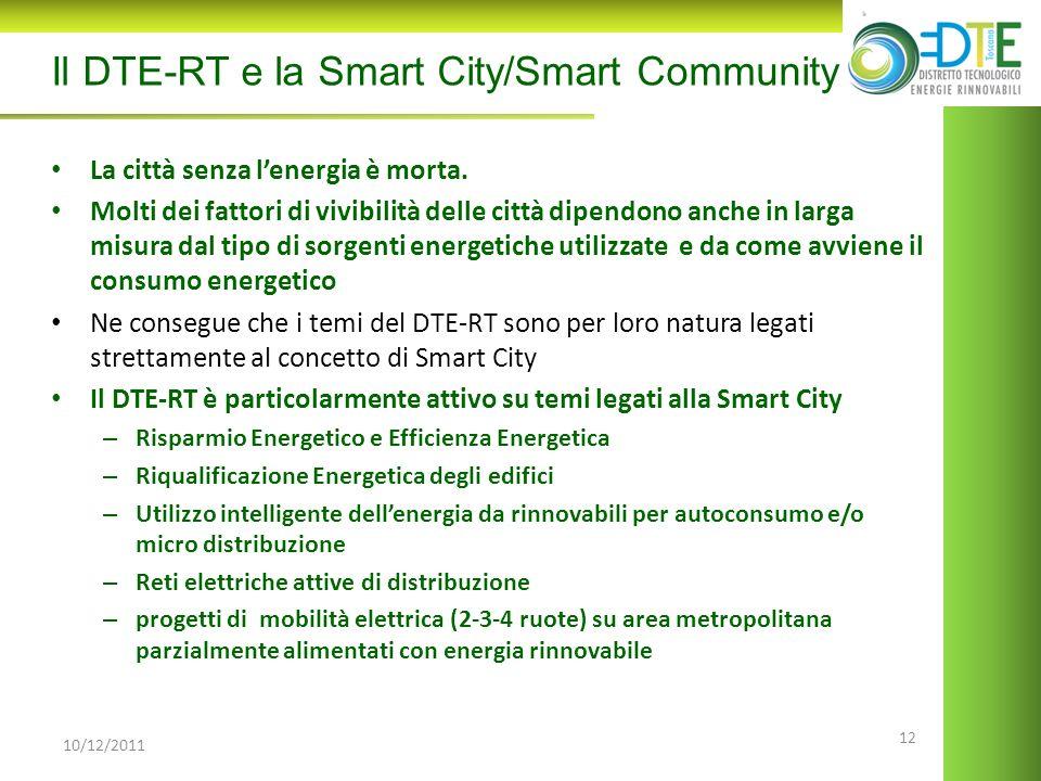 12 10/12/2011 Il DTE-RT e la Smart City/Smart Community La città senza lenergia è morta. Molti dei fattori di vivibilità delle città dipendono anche i