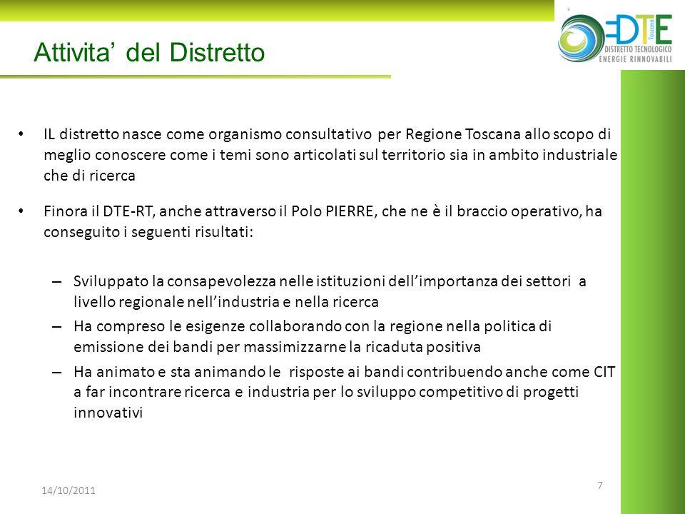 7 14/10/2011 Attivita del Distretto IL distretto nasce come organismo consultativo per Regione Toscana allo scopo di meglio conoscere come i temi sono