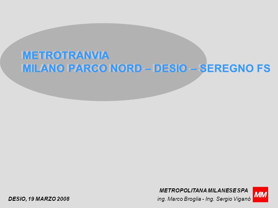 DESIO, 19 MARZO 2008 METROTRANVIA MILANO PARCO NORD – DESIO – SEREGNO FS ing.