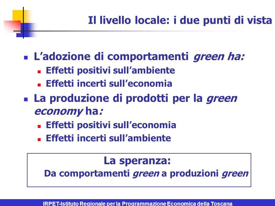 IRPET-Istituto Regionale per la Programmazione Economica della Toscana Il livello locale: i due punti di vista Ladozione di comportamenti green ha: Effetti positivi sullambiente Effetti incerti sulleconomia La produzione di prodotti per la green economy ha: Effetti positivi sulleconomia Effetti incerti sullambiente La speranza: Da comportamenti green a produzioni green