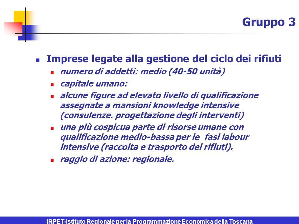 IRPET-Istituto Regionale per la Programmazione Economica della Toscana Gruppo 3 Imprese legate alla gestione del ciclo dei rifiuti numero di addetti: medio (40-50 unità) capitale umano: alcune figure ad elevato livello di qualificazione assegnate a mansioni knowledge intensive (consulenze.