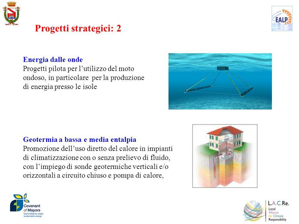 Energia dalle onde Progetti pilota per lutilizzo del moto ondoso, in particolare per la produzione di energia presso le isole Geotermia a bassa e medi