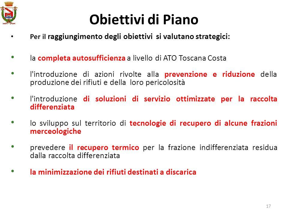 17 Obiettivi di Piano Per il raggiungimento degli obiettivi si valutano strategici: la completa autosufficienza a livello di ATO Toscana Costa l'intro