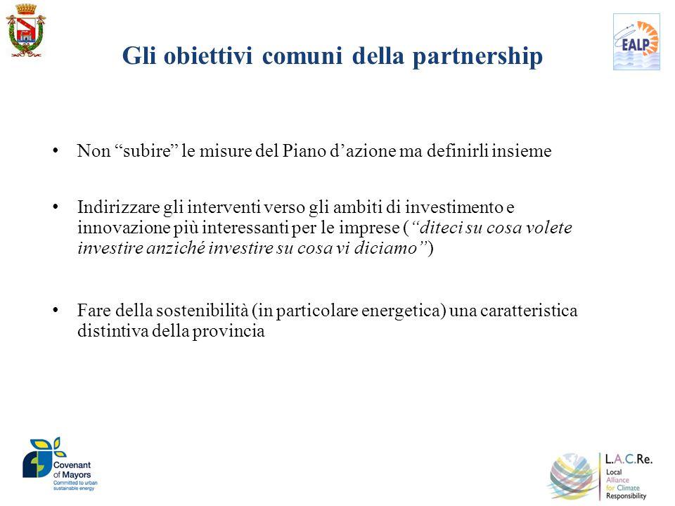 Gli obiettivi comuni della partnership Non subire le misure del Piano dazione ma definirli insieme Indirizzare gli interventi verso gli ambiti di inve