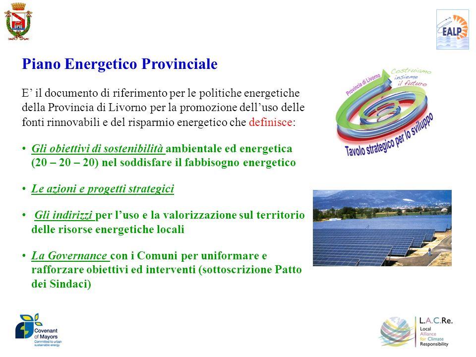 Dal Piano Energetico Provinciale al Piano dAzione per lEnergia Sostenibile Dal Piano Energetico Provinciale al Piano dAzione per lEnergia Sostenibile a livello comunale per conseguire ed andare oltre gli obiettivi stabiliti dalla UE per il 2020 e creare nuove opportunità di sviluppo La Provincia di Livorno ha aderito al Patto dei Sindaci in qualità di struttura di coordinamento e di supporto ai Comuni del territorio provinciale Coordinamento e supporto della Provincia ai Comuni del territorio provinciale aderire al Patto dei Sindaci bilanci delle emissioni di CO2 (Inventario di Base delle Emissioni) Piano dAzione per lEnergia Sostenibile per il settore produttivo accesso degli Enti Locali a finanziamenti comunitari