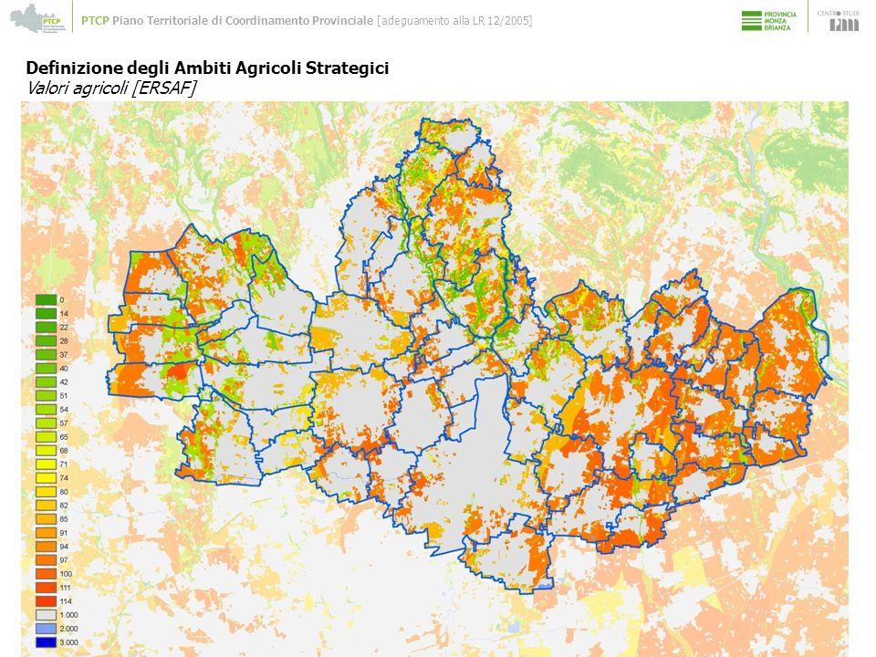 PTCP Piano Territoriale di Coordinamento Provinciale [adeguamento alla LR 12/2005] Definizione degli Ambiti Agricoli Strategici Valori agricoli [ERSAF