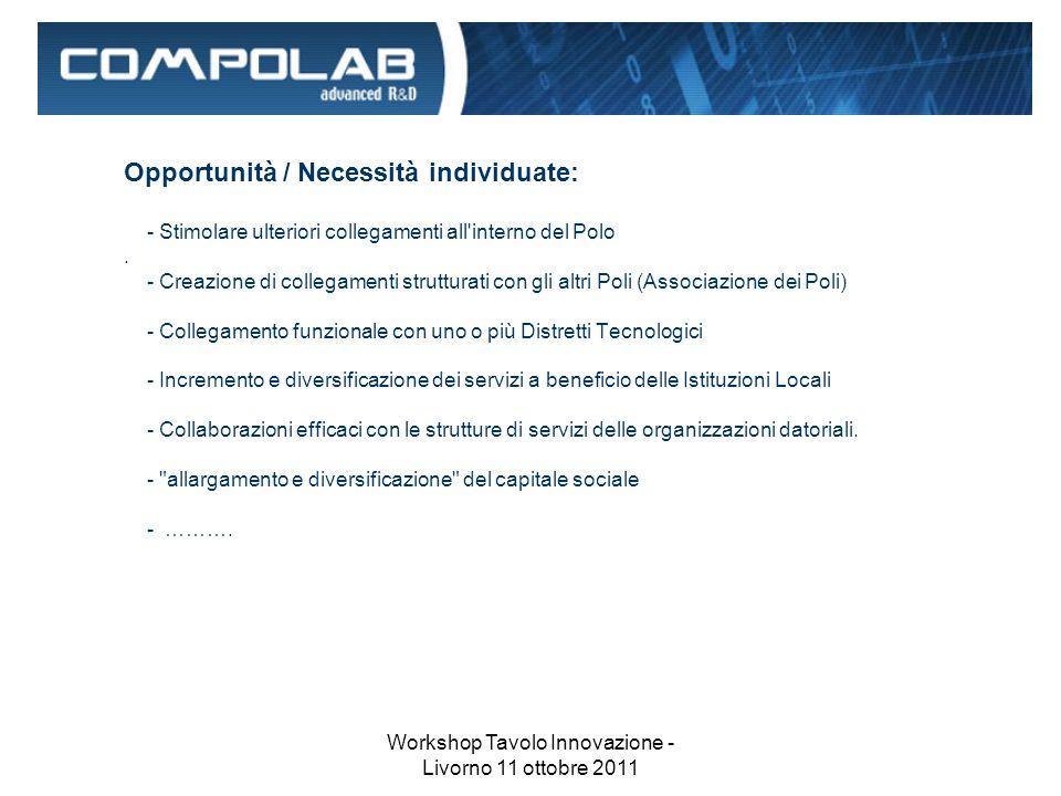 Workshop Tavolo Innovazione - Livorno 11 ottobre 2011 Opportunità / Necessità individuate: - Stimolare ulteriori collegamenti all interno del Polo.