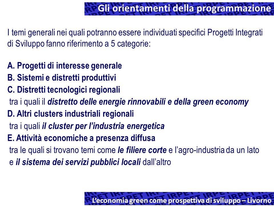 Gli orientamenti della programmazione regionale Leconomia green come prospettiva di sviluppo – Livorno I temi generali nei quali potranno essere individuati specifici Progetti Integrati di Sviluppo fanno riferimento a 5 categorie: A.