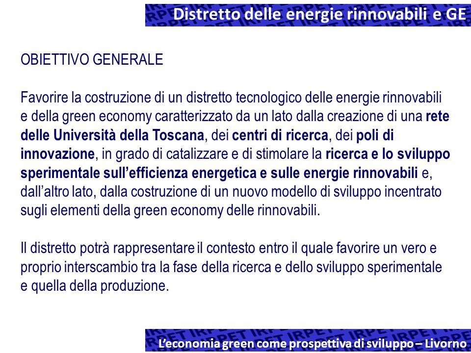 Distretto delle energie rinnovabili e GE Leconomia green come prospettiva di sviluppo – Livorno OBIETTIVO GENERALE Favorire la costruzione di un distretto tecnologico delle energie rinnovabili e della green economy caratterizzato da un lato dalla creazione di una rete delle Università della Toscana, dei centri di ricerca, dei poli di innovazione, in grado di catalizzare e di stimolare la ricerca e lo sviluppo sperimentale sullefficienza energetica e sulle energie rinnovabili e, dallaltro lato, dalla costruzione di un nuovo modello di sviluppo incentrato sugli elementi della green economy delle rinnovabili.