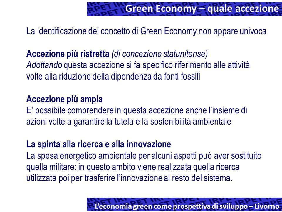 Esercizio Stima degli effetti di alcuni interventi individuabili come Green Economy in termini di incremento potenziale di produzione e di occupazione Il metodo 1.