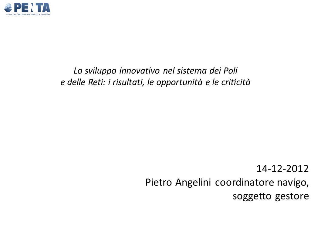 Lo sviluppo innovativo nel sistema dei Poli e delle Reti: i risultati, le opportunità e le criticità 14-12-2012 Pietro Angelini coordinatore navigo, soggetto gestore