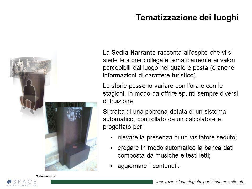 Innovazioni tecnologiche per il turismo culturale Sedia narrante La Sedia Narrante racconta allospite che vi si siede le storie collegate tematicament
