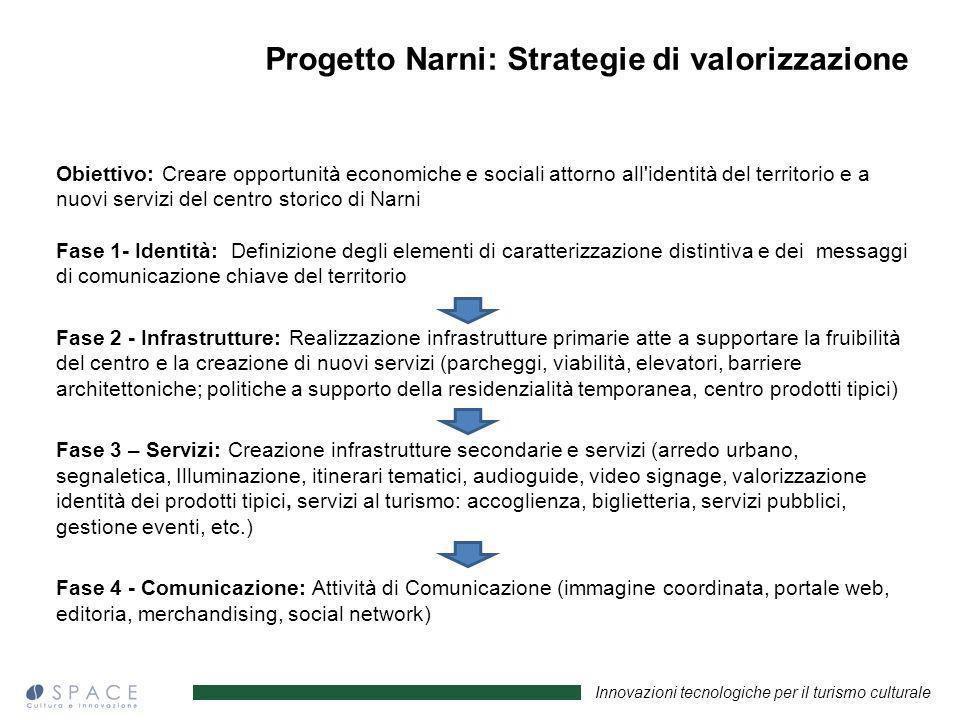 Innovazioni tecnologiche per il turismo culturale Progetto Narni: Strategie di valorizzazione Obiettivo: Creare opportunità economiche e sociali attor