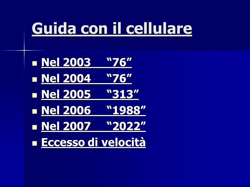 Guida con il cellulare Nel 2003 76 Nel 2003 76 Nel 2004 76 Nel 2004 76 Nel 2005 313 Nel 2005 313 Nel 2006 1988 Nel 2006 1988 Nel 2007 2022 Nel 2007 2022 Eccesso di velocità Eccesso di velocità