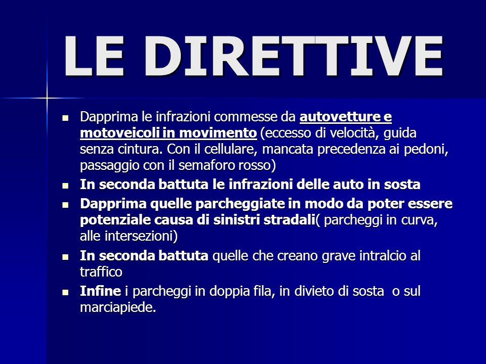 LE DIRETTIVE Dapprima le infrazioni commesse da autovetture e motoveicoli in movimento (eccesso di velocità, guida senza cintura.