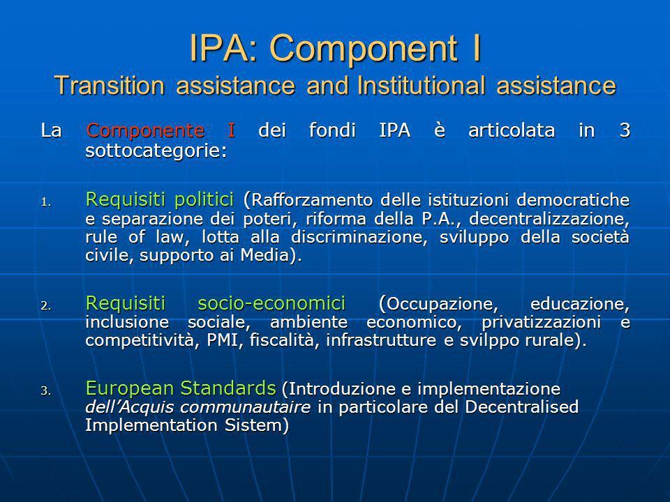 IPA: Component I Transition assistance and Institutional assistance La Componente I dei fondi IPA è articolata in 3 sottocategorie: 1. Requisiti polit