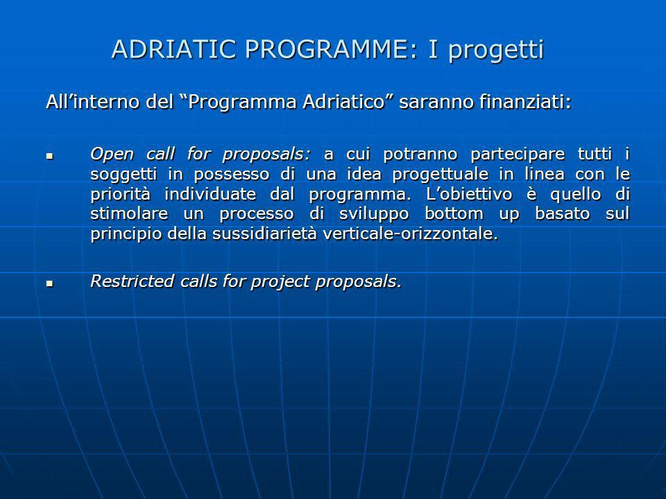 ADRIATIC PROGRAMME: I progetti Allinterno del Programma Adriatico saranno finanziati: Open call for proposals: a cui potranno partecipare tutti i sogg