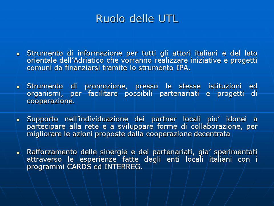 Ruolo delle UTL Strumento di informazione per tutti gli attori italiani e del lato orientale dellAdriatico che vorranno realizzare iniziative e proget