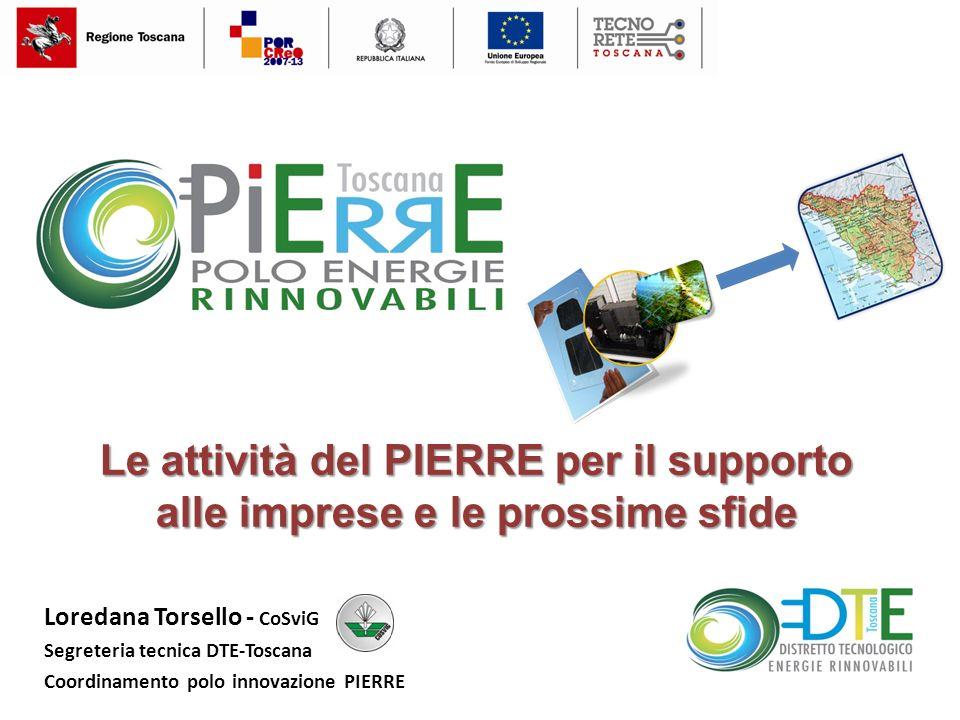 Loredana Torsello - CoSviG Segreteria tecnica DTE-Toscana Coordinamento polo innovazione PIERRE Le attività del PIERRE per il supporto alle imprese e