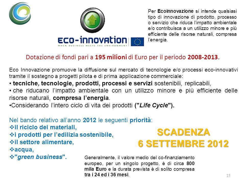 15 Dotazione di fondi pari a 195 milioni di Euro per il periodo 2008-2013. Per Ecoinnovazione si intende qualsiasi tipo di innovazione di prodotto, pr
